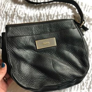 DKNY black leather crossbody bag
